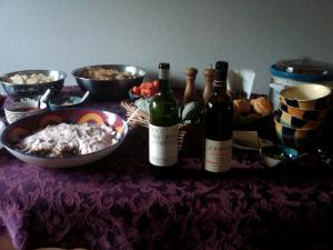 Superbowl spread, including Ridge Geyserville Zin blend and A. Rafanelli Zinfandel