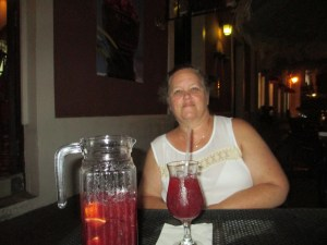 Lori and I split a pitcher of sangria at a sidewalk cafe.