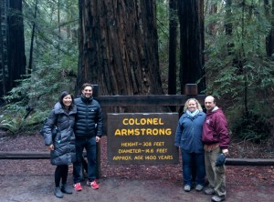 My cousin Diego and his girlfriend on the left, Lori and I on the right, at the Colonel Armstrong redwood tree