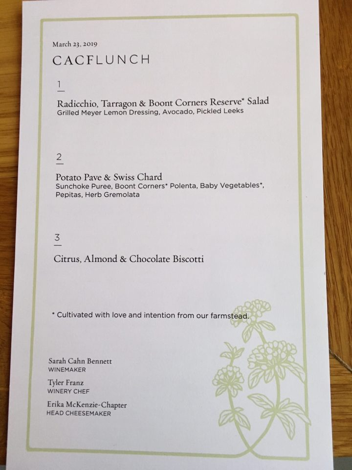 Lunch menu (vegetarian)