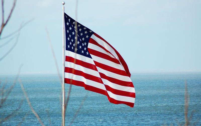 American flag over Mobile Bay, Alabama | photo by Lori Seaborg