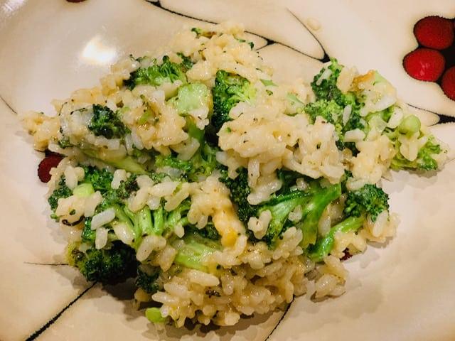 Broccoli cheddar risotto plated