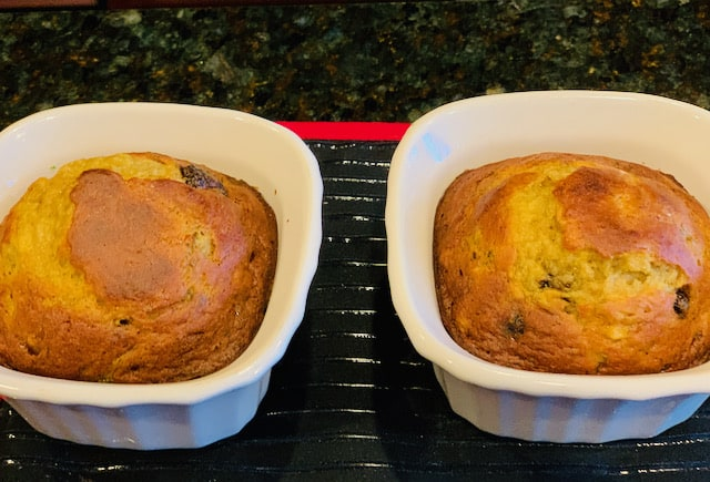 two chocolate banana bread cakes