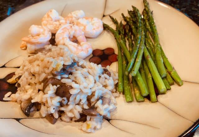 shrimp, green beans, and mushroom risotto