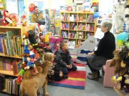 Reading to kids at Babar Books, Pointe-Claire, Quebec