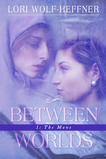 "Cover of ""Between Worlds 1."" In purple tones. Two young women. One with a headscarf that ties under the chin looks down on one with long brown hair."