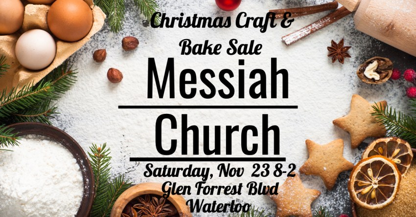 Image of Christmas baking with basic info for the Christmas Craft & Bake Sale at Messiah Church