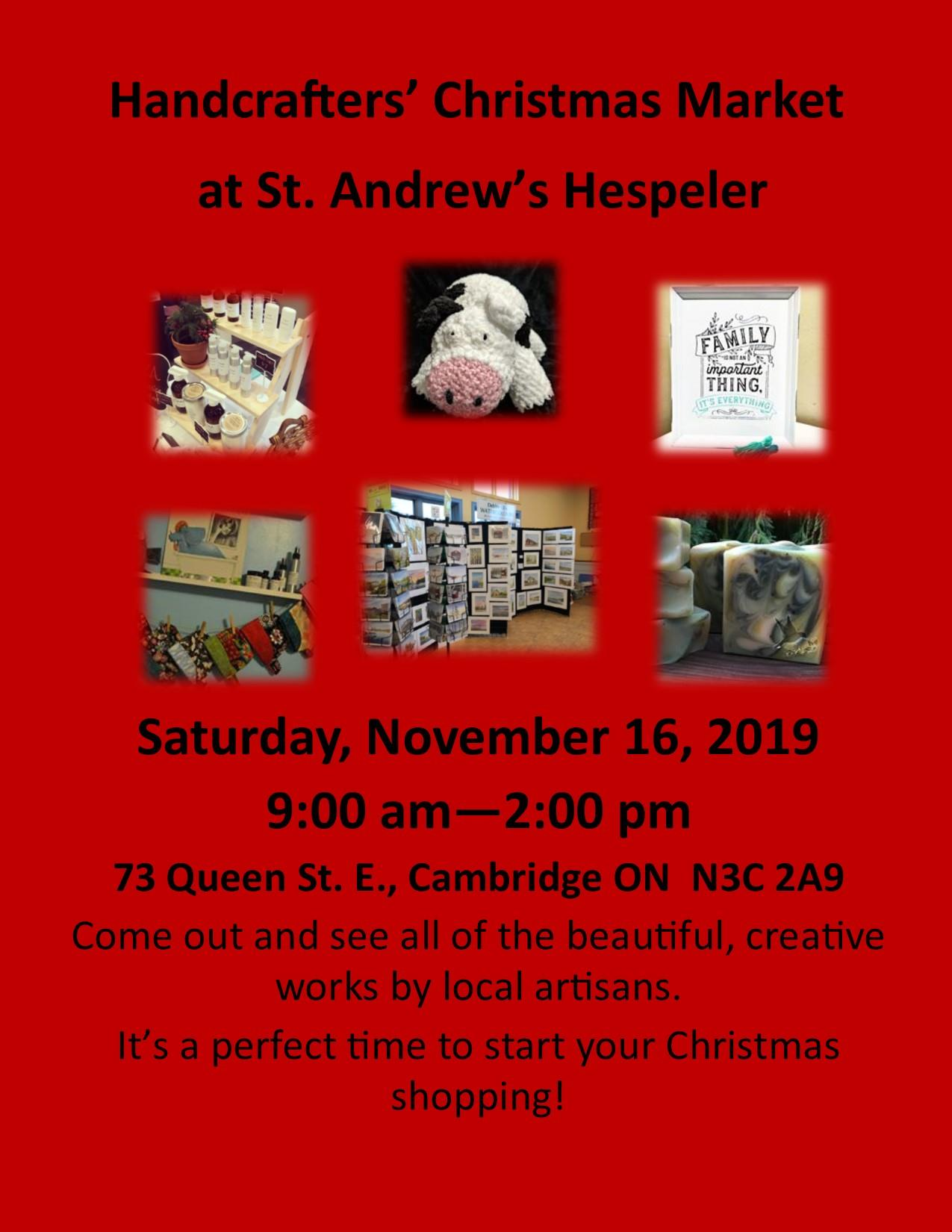 Red poster with pictures of various crafts for purchase as St. Andrew's Hespeler Craft Show