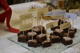 Packed full of chocolate, chocolate chocolate chocolate brownie tasters, with cakery flags!