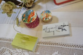 Painted field cupcakes and business cards