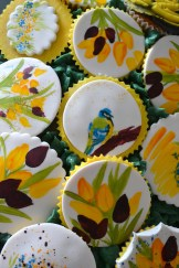 Painted Cupcakes Tulips and a birdie!