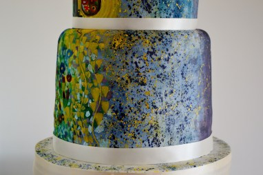 Klimt wedding cake, painted, bottom tier