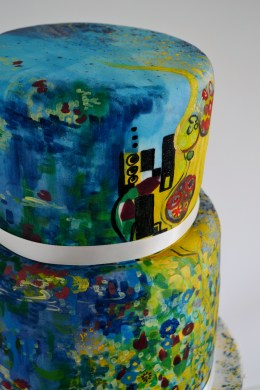 Klimt and Monet painted wedding cake