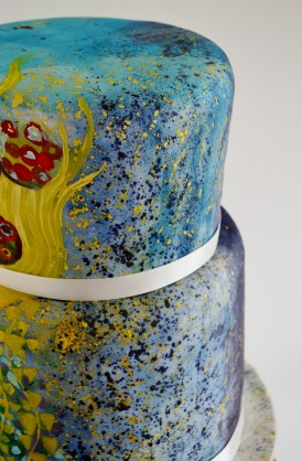 Klimt and Monet wedding cake