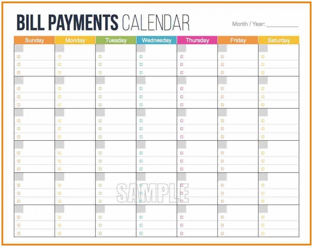 Free Bill Payment Calendar Template