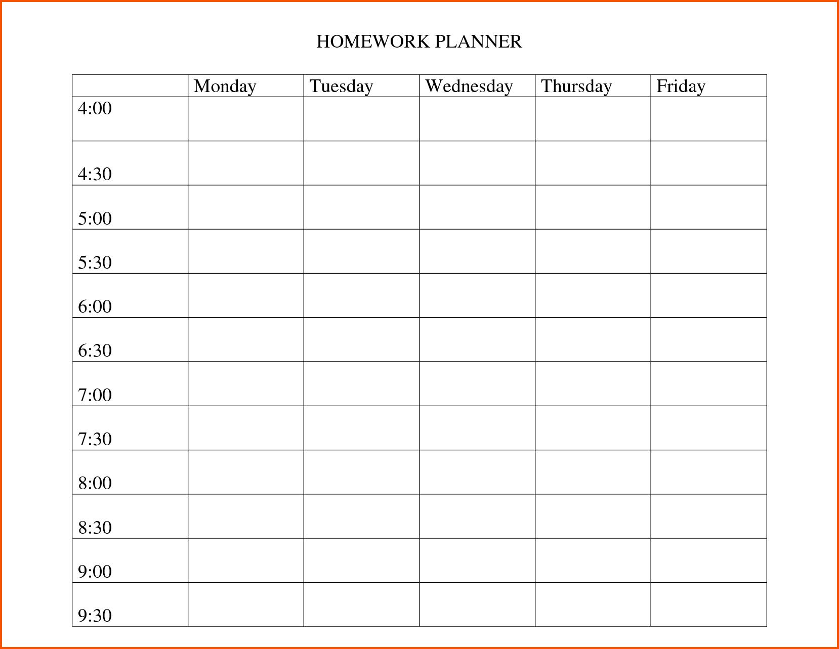 Preschool Homework Calendar Template