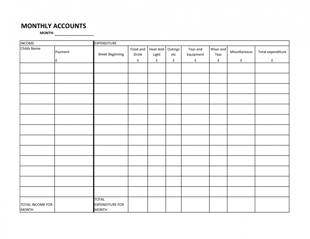 Blank Printable Monthly Bill Pay Worksheet