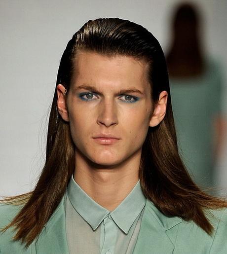 Long Hair Boy Hairstyles Men39s Hairstyle With Ear Top And Curls That Curl Up