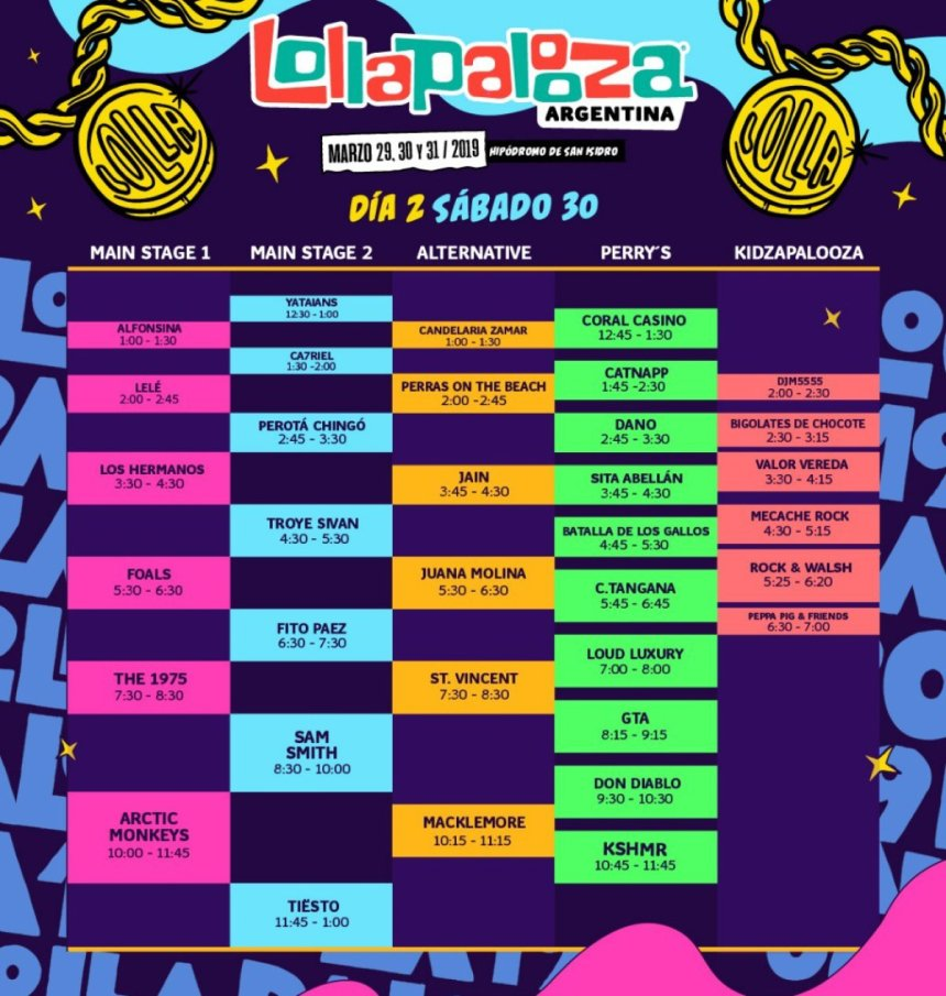 ¡Lollapalooza Argentina anunció los horarios de su sexta edición!