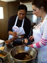 Anjan and Vicki preparing dulce de leche brownies