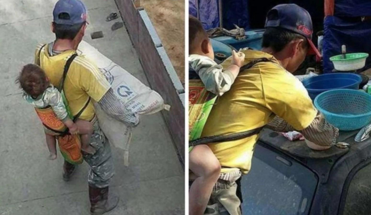 Albañil lleva a su hijo a la obra, tras quedar viudo