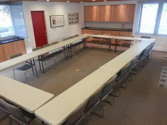 The conference room can be configured multiple ways to meet your needs.
