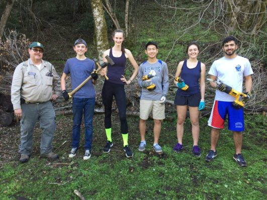 E3 Youth Philanthropy Program members completing a service project at Deer Hollow Farm. From left to right: Jaime Villarreal, Deer Hollow Farm; Gray Tynefiled; Lauren Kiachian; Oliver Yu; Naomi Zimmerman; Kian Nikzad