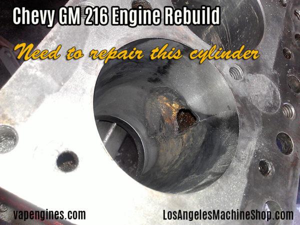 Chevy GM 216 engine block repairs.