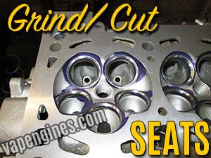 Grind Cut seats during cylinder head Valve Job. Cylinder head repair machine shop in Los Angeles.