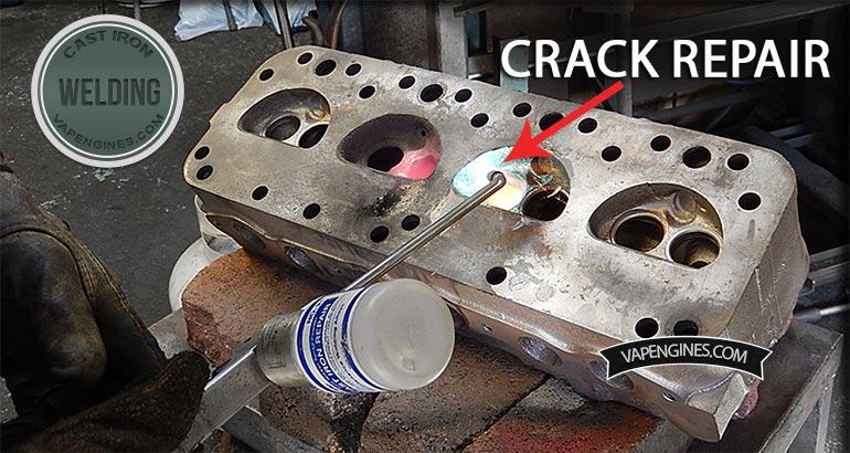 Cast iron cylinder head crack repair