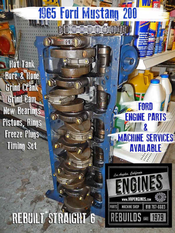 Rebuilt 65 Ford Mustang 200 engine