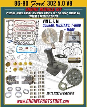 86-90 Ford 302 5.0 V8 engine rebuild kit.