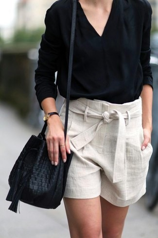 black-long-sleeve-blouse-beige-linen-shorts-black-leather-bucket-bag-large-25521