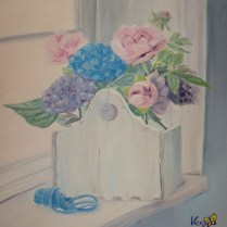 Flores junto a la ventana. Óleo sobre lienzo.