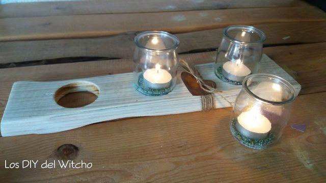DIY...Cómo hacer un porta-velas con vasos de yogur y madera reciclada