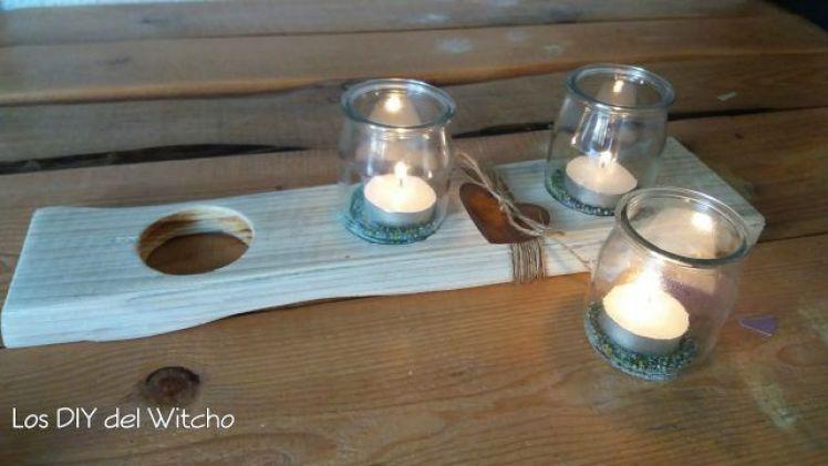 DIY…Cómo hacer un porta-velas con vasos de yogur y madera reciclada