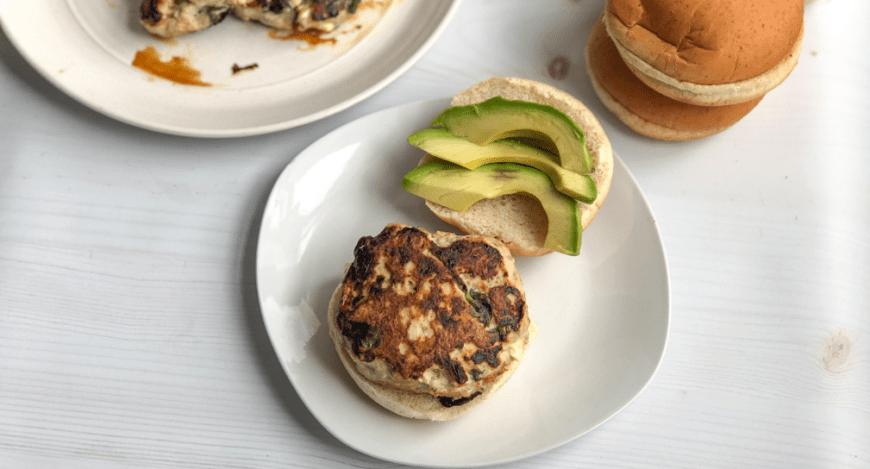 Healthy spinach turkey burger