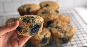 Healthy whole grain blueberry zucchini muffin recipe