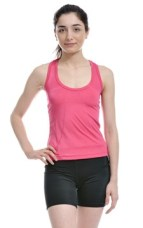 Woman Wearing Pink Lycra Stretch Tank Top