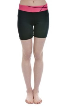 Berry and Black Lycra Shorts Exercise Wear
