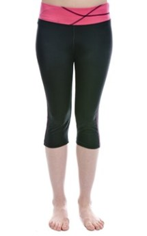 Berry and Black Lycra Capri Exercise Wear
