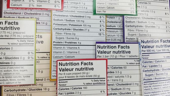 """Healthy"" Keywords Food Nutrition Label Collection"