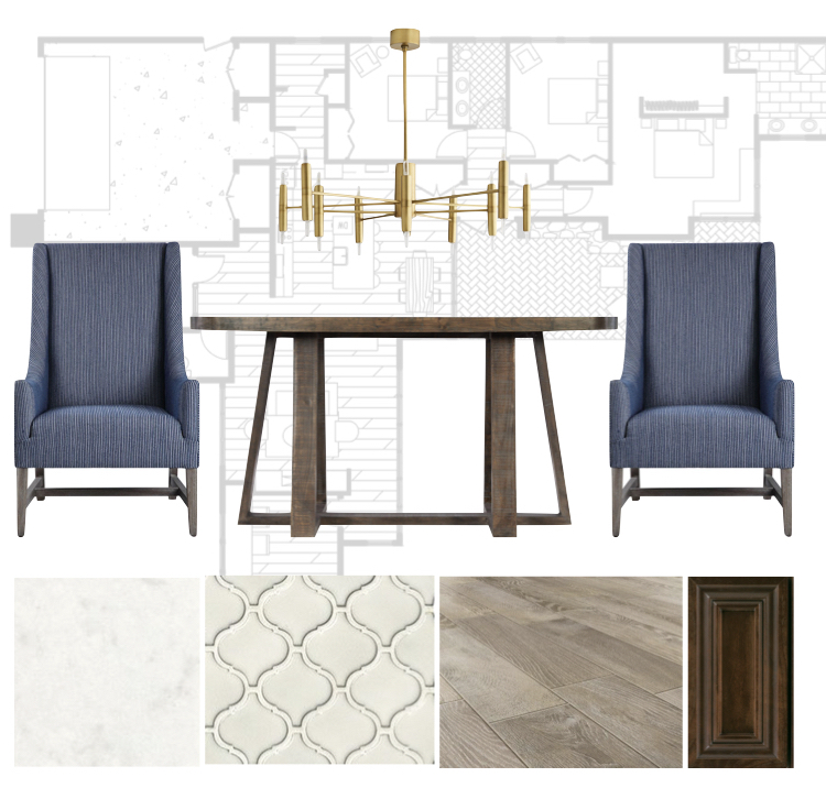 finish and furnishings selections for interior design