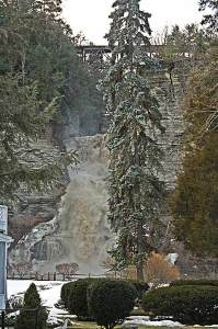 Glenora Falls during a thaw.