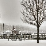 Snow at Watkins Glen harbor.