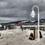 The Watkins Glen marina's main pier in winter.
