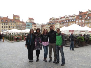 First day in Poland! With Joanna, Asia and Maciej in the Warsaw Market Square