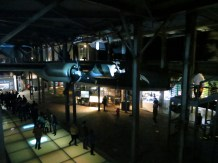 Inside he Uprising Museum. Hall with a plane hanging from the ceiling.