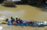 Piñas, plátanos, arroz, todo lo necesario para vivir es transportado en barca... ninguna carretera acompaña el cauce del río hasta prácticamente llegar a Battambang