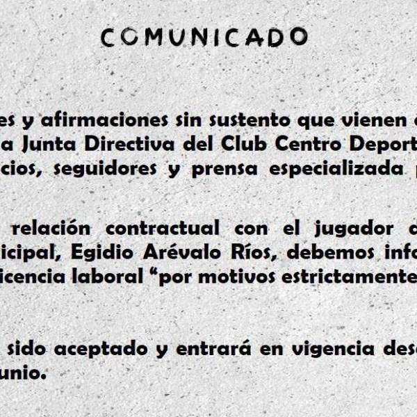 Comunicado: Arévalo pidió licencia por motivos personales